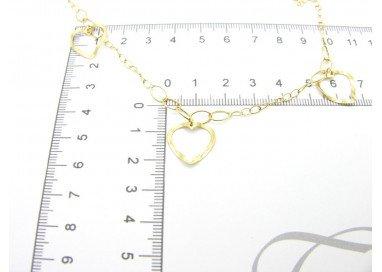 Collana 3 cuori forati oro giallo 18kt foto misura 2
