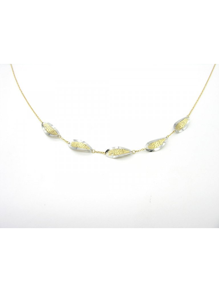 Long Necklace Chain with leaf shapes and flowers 18kt yellow and white gold