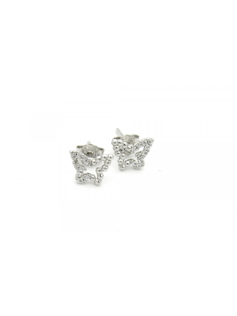 Butterfly Earrings in white gold and cubic zirconia
