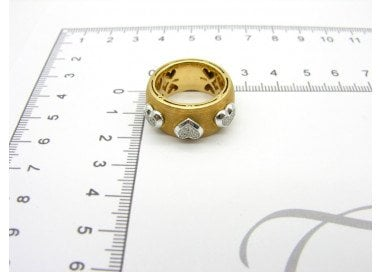 Large Band 3 Heart Ring in yellow and white 18kt gold