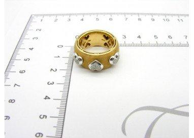 Anello Fascia con 3 Cuori pavè oro 18kt giallo e bianco misure