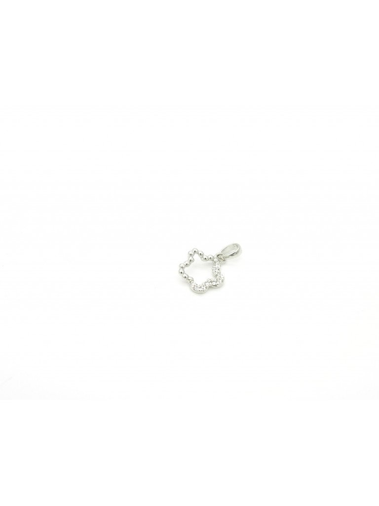 Flower Charm in white gold and cubic zirconia