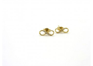 Infinity Symbol Earrings in white gold and cubic zirconia