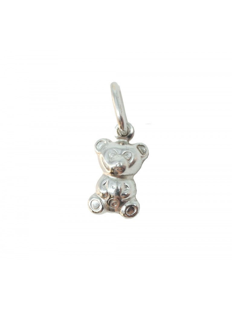 Teddy Bear white gold charm