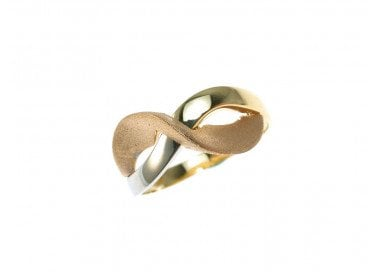 Infinity Symbol ring yellow, pink and whit 18kt gold