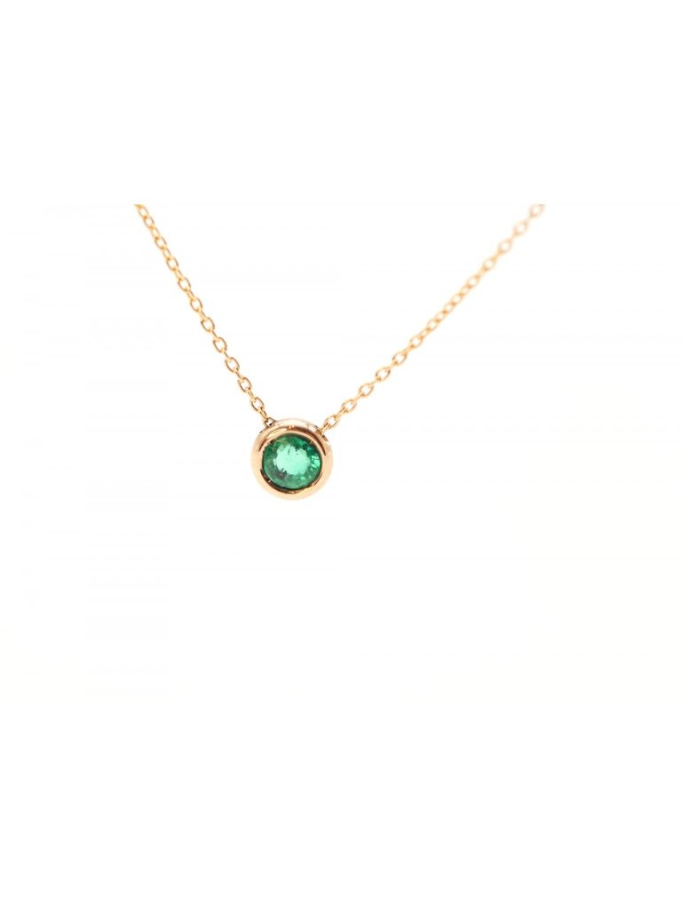 Necklace Circle rose gold Emerald