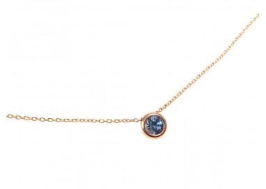 Collana Circle Oro Rosa Zaffiro Blu