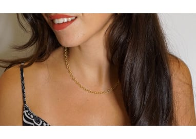Necklace Rolò striped chain 4.7mm 18kt yellow gold