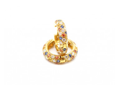 Multicolor Sapphires and Diamonds Round Hoops