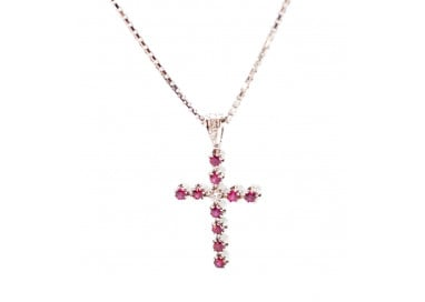 Cross in white gold Rubies and Diamonds