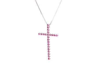 Necklace with Cross in white gold and Rubies