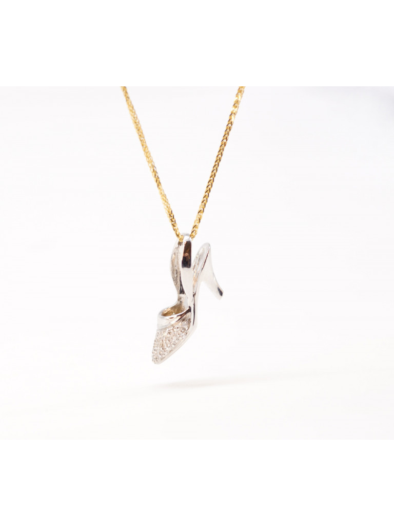 Shoe charm white 18kt gold and diamonds
