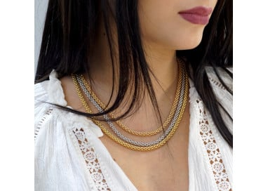 """Necklace 3 """"coreana"""" chains in 3 gold colors"""