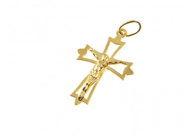 Cross charm with Christ yellow gold