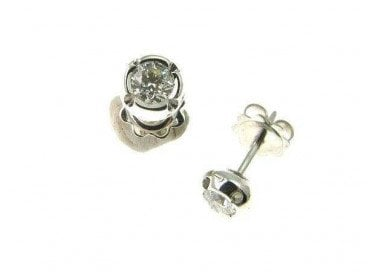 Cipollotto Solitaire Earrings with diamonds 0.165 ct