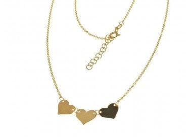 Gold necklace hearts yellow